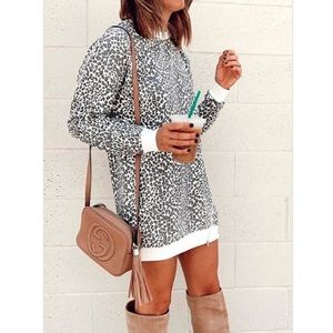 Kameakay White Leopard Print Dress with Zipper